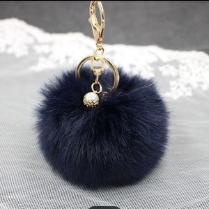 Black Feel Real Purse Pom Pom Key Chain!